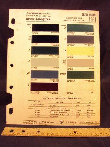 1951 BUICK Paint Colors Chip Page