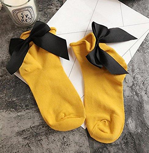 Sagton Women Harajuku Street Style Calze Di Cotone Alla Caviglia Lunghezza Calze Crew Socks Con Bowknot Giallo + Nero