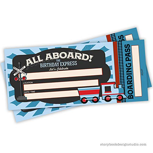 Train Ticket Birthday Party Invitations (Set of 25) Envelopes Included, Fill in Style]()