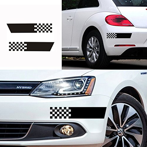 Kaizen Auto Decal Scratch Seal Bumper Sticker Decals 2Pcs Die-Cut Chequered Flag Vinyl Sticker For Volkswagen, Toyota, Honda, Chevrolet, Ford, Mercedes Benz, Audi, BMW and Any SUV,Truck or Sedan Car