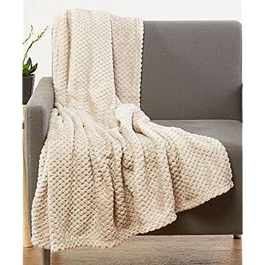 Luxurious Softness Extra Comfy Velvet Throw Blanket, 50 x60  (Beige)