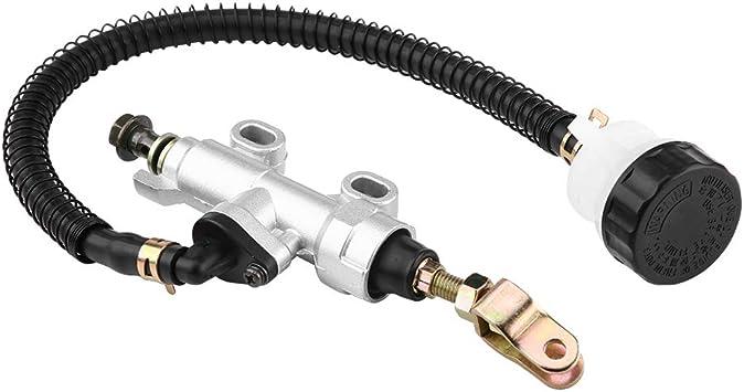 Qiilu Universal Rear Foot Brake Master Cylinder Pump with Reservoir for Motorcycle Dirt Bike ATV