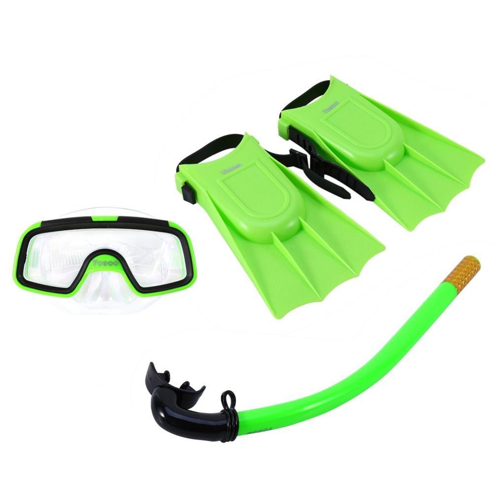 Snorkel y Aletas De Buceo para Ni/ños con Anteojos con M/áscara Delaman Aletas De Buceo Kids Swimming Silicone Monofin Set