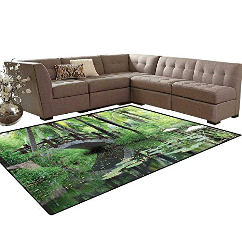 (Zen Garden Bath Mat 3D Digital Printing Mat Green Landscape in South China Palm Trees and Bushes Lush Growth Nature Extra Large Area Rug 6'6