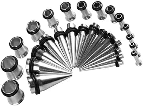 BodyJ4You Gauges Kit 28 Tapers and Plugs Stainless Steel Tunnels 12G-0G Ear Stretching