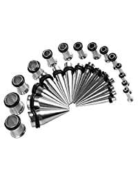 BodyJ4You 28PC Gauges Kit Ear Stretching 12G-0G Multicolor Steel Tunnel Plugs Tapers Piecing Set