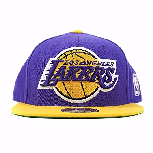 NBA Mitchell & Ness Los Angeles Lakers Vintage Logo Two-Toned Fitted Hat - Purple/Gold (7 3/8)