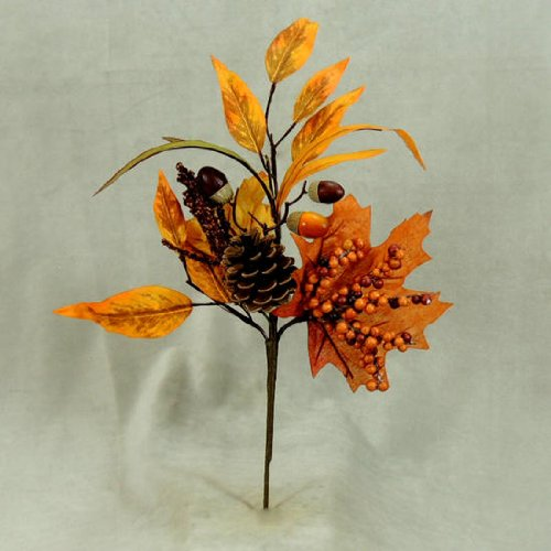 [Beautiful Autumn Harvest Leaf Pick with Natural Pine Cone, Acorns, and a Cluster of Autumn Berries- 4 Sprays] (Autumn Leaf Bouquet)