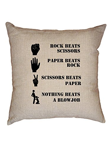 Hollywood Thread Nothing Beats Blowjob - Rock Paper Scissors Score Decorative Linen Throw Cushion Pillow Case with Insert by Hollywood Thread
