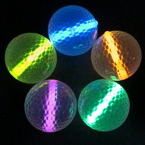 Glowing Golf Balls (Set of 20 Balls) - Glow Golf Balls with Assorted Color Inserts -