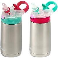 (跨境自营)(包税) Contigo 自动翻盖儿童水瓶 2件装 红/绿