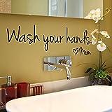 Fenleo Wash Your Hands Wall Stickers Decal Vinyl Art Mural Home Decor 44x14.4CM