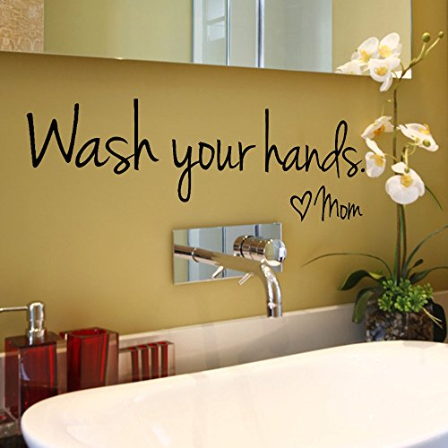 Fenleo Wash Your Hands Wall Stickers Decal Vinyl Art Mural Home Decor 44x14.4CM ()