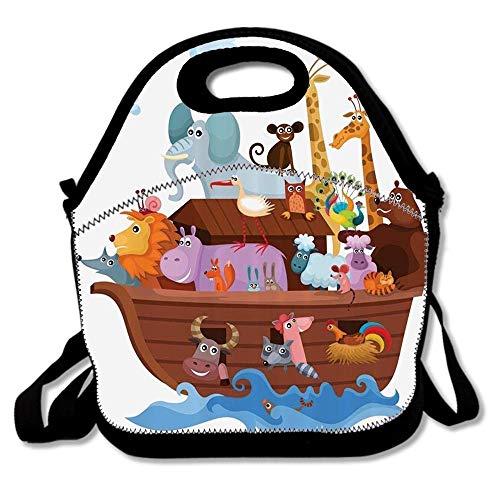 Animals In Noahs Ark Clipart Religion Religious Artwork Waterproof Reusable Lunch Bags For Men Women Adults Kids Toddler Nurses With Adjustable Shoulder Strap - Neoprene Lunch ()