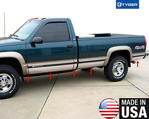 Made In USA! Works With 88-98 C/K Pickup Regular Cab Long Bed W/Fender Flare Rocker Panel Chrome Stainless Steel Body Side Moulding Molding Trim Cover 6.25