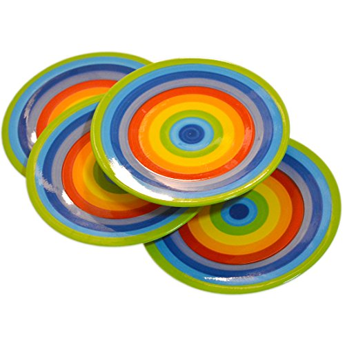 Ceramic Appetizer - CinMin Rainbow Striped Stoneware Ceramic Appetizer Plate Set of 4, 7 Inch