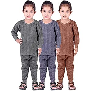 Mahi Fashion Round Neck Baby Thermal Suit Top & Pajama Set for Baby Boys & Baby Girls, Pack of 3 (Baby Kids Thermal)