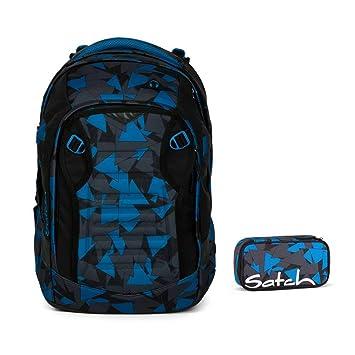 6c977ee5a62a3 Satch MATCH by Ergobag Blue Triangle 2-tlg. Set Schulrucksack +  Schlamperbox - Wächst