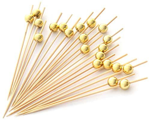 PuTwo Handmade Cocktail Picks 100 Count Sticks Wooden Toothpicks Party Supplies - Gold Pearl