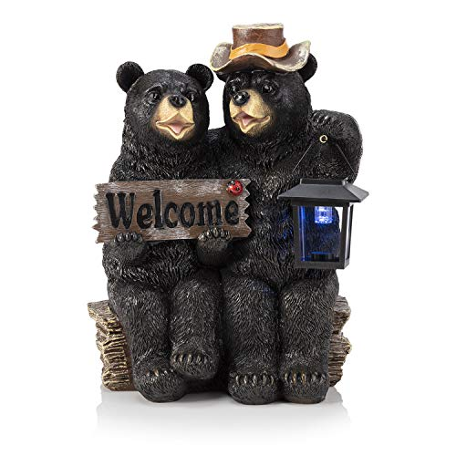 Alpine Corporation Bear Couple with Lantern and Welcome Sign Statue with Solar LED Lights - Outdoor Decor for Garden, Patio, Deck, Porch - Yard Art Decoration - 15 Inches Tall (Garden Statues Wooden)