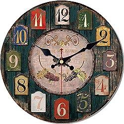 MEISTAR Wooden Creative 12 Inch Wall Clocks,American Country Style Colorful Arabic Numerals Grape Design Farmhouse Decor Quiet Non Ticking Wall Clock