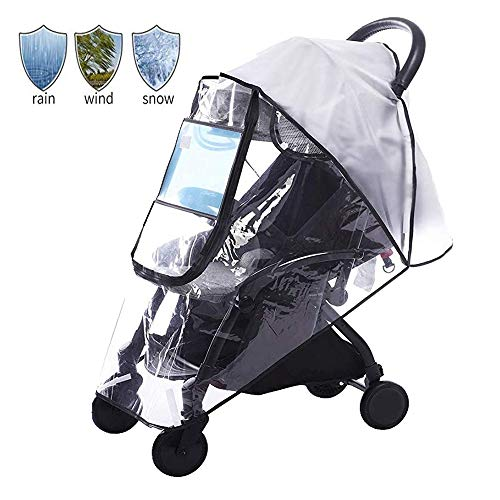 Diagtree Stroller Rain Cover Universal, Baby Travel Weather Shield, Windproof Waterproof, Protect from Dust Snow Insects (Black-M)