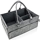 Diaper Caddy Organizer - Nursery Storage Bin - Baby Shower Gift Basket for Girl or Boy - Car Travel Caddy Organizer for Kid Toys and Wipes - Newborn Registry Must Have