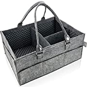 Diaper Caddy and Organizer - Diaper Storage Bin for Nursery Changing Table - Boy Girl Baby Shower Gift Bag Basket - Car Travel Organizer for Kid Toys Wipes - Newborn Registry Must Have (Grey 16 x12 )