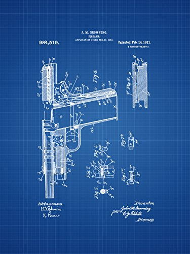 Framable Patent Art Original Colt 45 American Classic Gun 18in by 24in Poster Print Blueprint PAPSP177B from Framable Patent Art