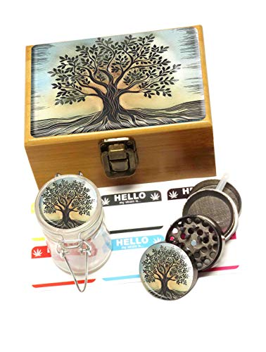 Tree of Life Bamboo Stash Box Mini Set – Includes Metal Grinder, Glass Storage Jar, label