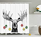 Christmas Bathroom Decor Moose Decor Shower Curtain by Ambesonne, Christmas Moose with Xmas Ornaments Balls Hanging from Horns Funny Noel Sketch Art , Fabric Bathroom Decor Set with Hooks, 70 Inches, Multi