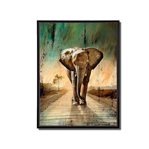 Elephant Frame (Animal Painting - Wall Art Elephants Waking Down Green Grassland Road Picture Prints on Canvas with Black Floater Frame Ready to Hang for Home Living Room Bedroom Decor (Elephant1, 12x16inch))