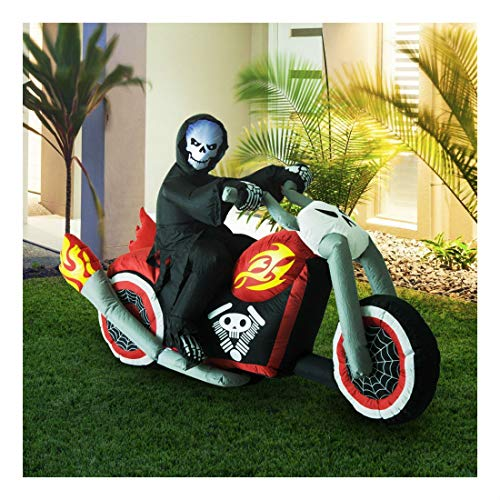 (7.5ft Halloween Airblown Inflatable Reaper Motorcycle Outdoor Yard)