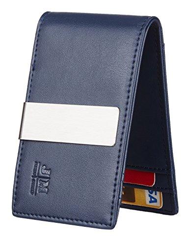 (JM Minimalist Slim Leather Wallet Money Clip Credit Card Holder for Men RFID Blocking (TC napa blue))