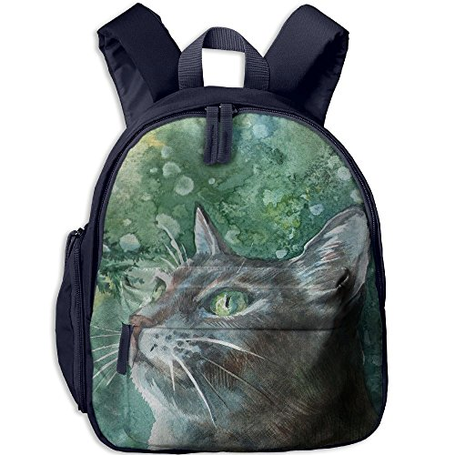 Painting Cat Hot Sale Child Shoulder School Bag School Backpack School Daypack For Teens Boys Girls Students Navy