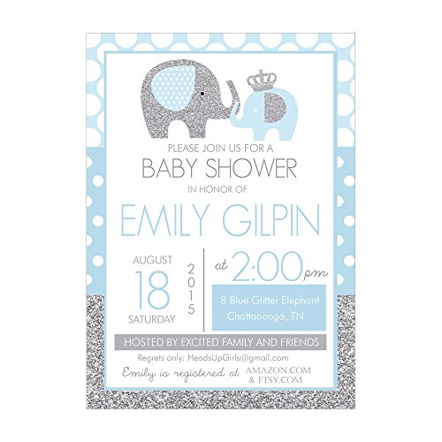 Set of 12 Customizable Personalized Baby Shower Invitations and Envelopes with Elephants in Blue and Silver Glitter NV032 (Baby Shower Wording Girl Invitations)