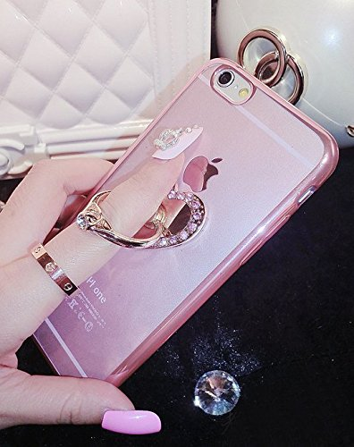 iPhone 6/6S Case,Aroko(TM) Beauty Luxury Diamond Hybrid Glitter Bling hard Shiny Sparkling with Crystal Rhinestone Cover Case for Apple iPhone6/6S 4.7'' inch (iphone 6, Heart Pink) (Bling Pink Case Iphone6)