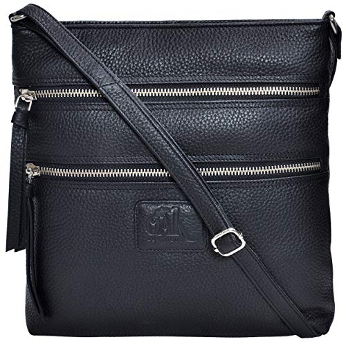 Over Black Leather - Leather Crossbody Purses and Handbags for Women-Premium Crossover Bag Over the Shoulder Womens (Black Pebble)