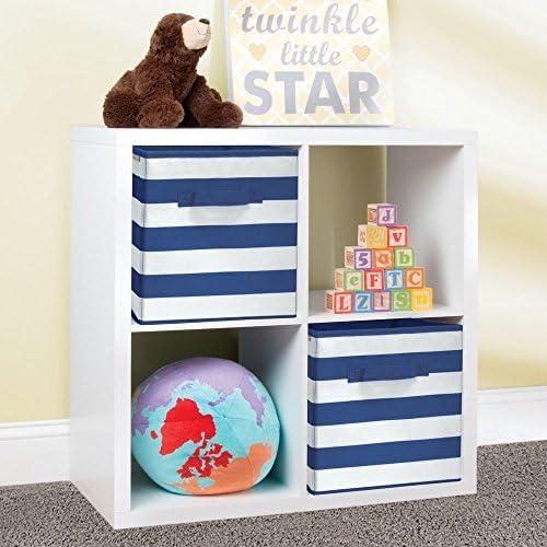 mDesign Juego de 2 cajas organizadoras para guardar juguetes – Cestas de tela a rayas para habitación infantil o dormitorio – Caja de tela con asas, ...