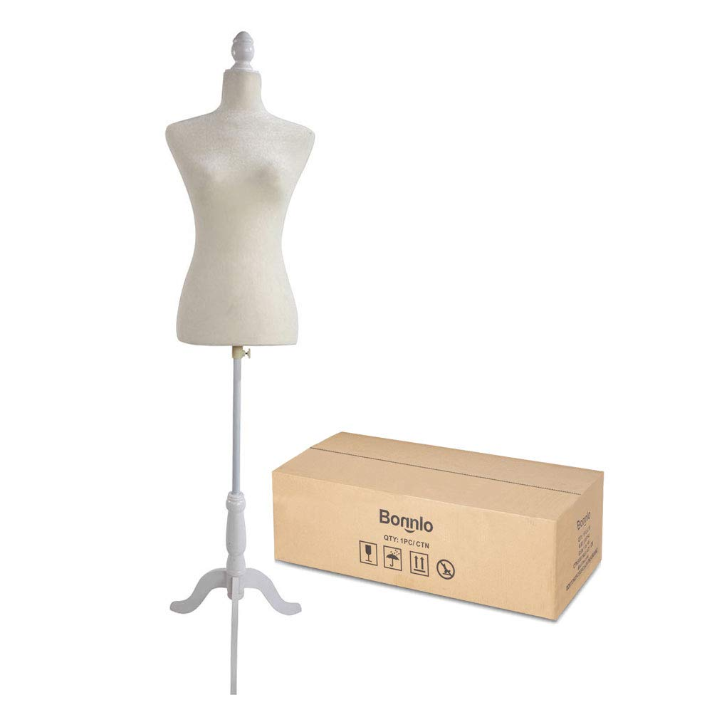 Bonnlo Female Dress Form Pinnable Mannequin Body Torso with Wooden Tripod Base Stand (White, 2-4) by Bonnlo