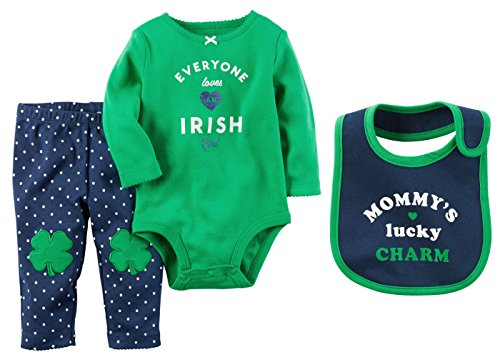 (Carters Baby Girls ST Patricks Day Irish Girl Bodysuit Pants and Mommys Lucky Charm Bib Set (3 Months))