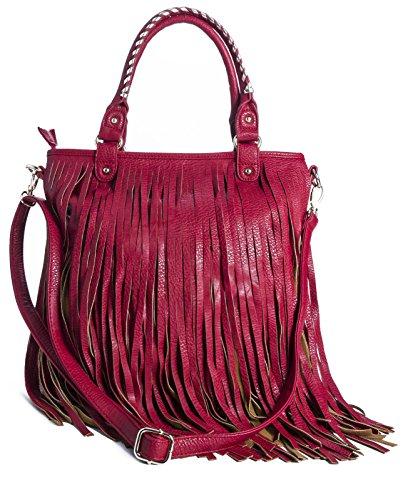 Poignée Détail Frange 33x40x8 Rouge Cowgirl BHBS cm Rouge épaule Top Longue LxHxP Main Femmes Vintage wvEqt8