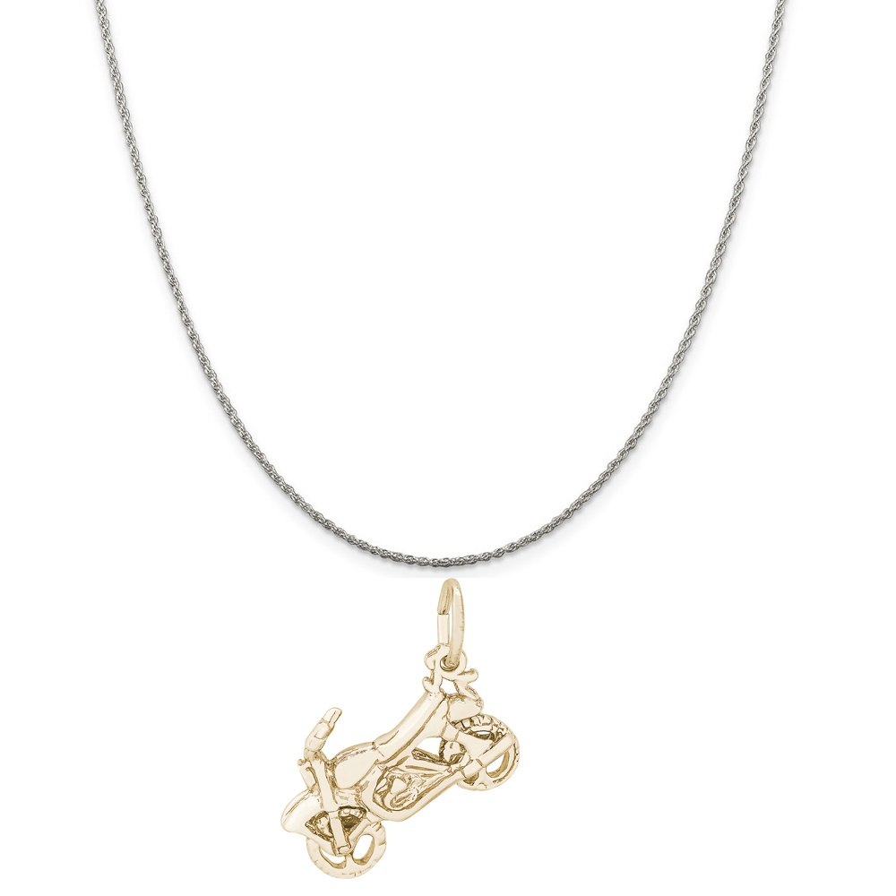 Box or Curb Chain Necklace Rembrandt Charms Two-Tone Sterling Silver Dirt Bike Charm on a Sterling Silver 16 18 or 20 inch Rope