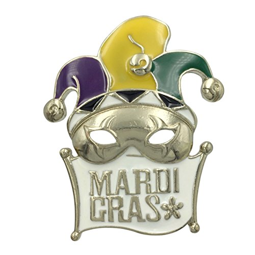 Mardi Gras Mask Purple Green Yellow Pin Brooch (White Banner Gold (New Orleans Masks For Sale)