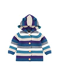 Mornyray Toddler Baby Boy Girl Sweater Cardigan Stripe Hood Knit Outerwear