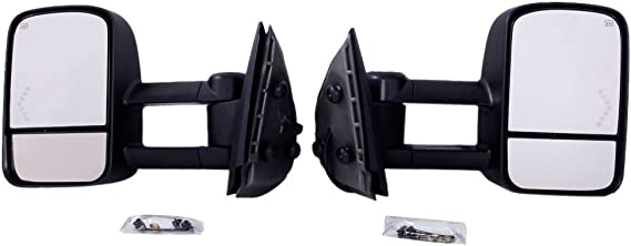 Roadstar GM1320407 Just 07 NEW Body Towing Mirrors for 2007-2013 GMC Sierra Chevrolet Silverado Avalanche Tahoe Yukon//XL//Denali Suburban Pair Set Chevy Tow Power Heated with LED Arrow Signal Light Side Mirrors