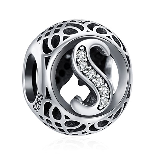 (925 Sterling Silver Alphabet Letter S Charms Initial Cubic Zirconia Charms Beads for Bracelets Necklaces)