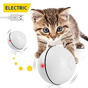 Bola de Gato, Juguetes para Gatos Carga USB Juguete Gato Automática, Bola Eléctrica de 360 Grados, Juguete Interactivo con luz LED para Ejercicio Gatos y Perros