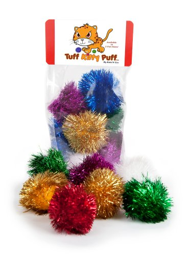 (Tuff Kitty Puff Sparkle Ball Cat Toy - 12 Pak )