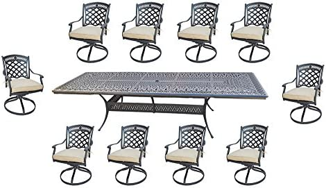11 Piece Outdoor Dining Set Patio Furniture Cast Aluminum